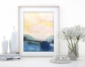 """Abstract Watercolor Painting, soft, Serene, Peaceful, Tranquil, Original art """"Ethereal Travels 6"""" Kathy Morton Stanion EBSQ"""