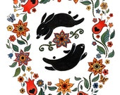 """Reserved Listing for Miss Cherry Delight  Happy Black Bunnies Floral Art Print 11"""" x 14"""""""