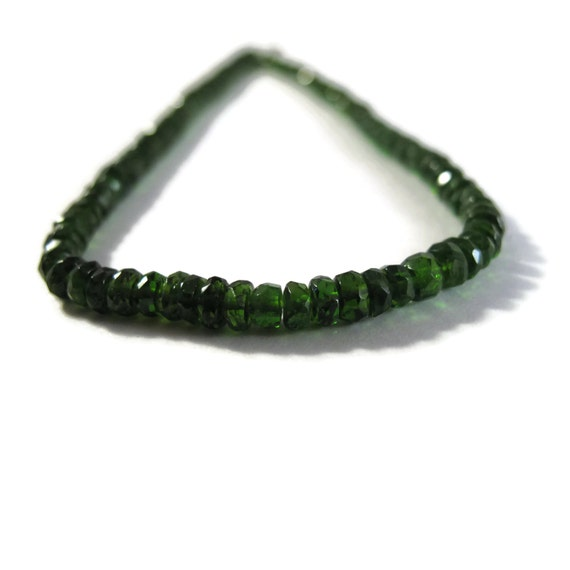 Gemstone Rondelle Beads, Gorgeous Green Chrome Diopside Faceted Rondelles, 8 Inch Strand, 3mm - 3.8mm (Luxe-Cd1a)