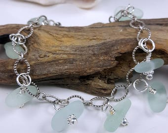 Sea Glass Bracelet Sea Glass Jewelry Sea Glass Bracelet Aqua Sea Glass Bracelet Beach Glass Bracelet B-252
