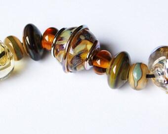 Yellow- Petrified- Wood Set- Handmade Beautiful Glass Beads by Beadfairy Lampwork READY TO SHIP!