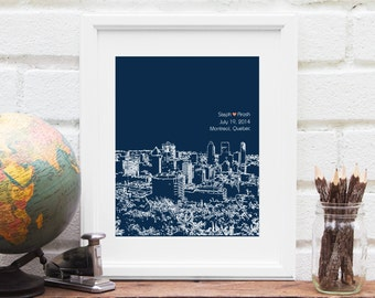 Montreal Skyline, Montreal Québec skyline, Montreal Wedding Gift, Bridal Shower, Personalized Engagement Canadian Couple Art