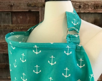 Ready To Ship-Nursing Cover-White Anchors on Teal-Free Shipping When Purchased With A Wrap