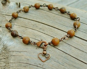 Tiger Jasper Bracelet -  Stone Beads and Antiqued Copper Wire Wrapped Bracelet -  with a bear hug heart charm dangle