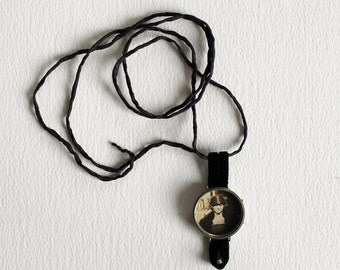Mixed Media Necklace - Vintage Photo and Watch Case Pendant on Black Silk Cord