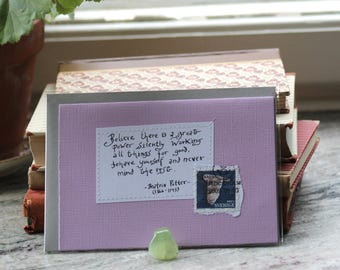Believe there is a great power... Pale lilac card with handwritten Beatrix Potter quote and Swedish owl postal stamp