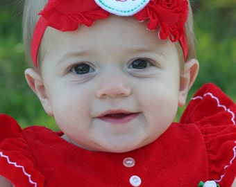 Monogrammed Baby Christmas Headband - Holiday Headband - Infant Headband - Toddler Headband - Shabby Chic Christmas Headband