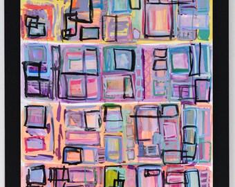 Original Expressive Modern Gouache Painting: Party Down