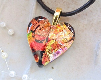 PETITE, Heart Pendant, Dichroic Pendant, Fused Glass Jewelry, Necklace, Orange, Red, Black, Necklace Included, One of a Kind, A8