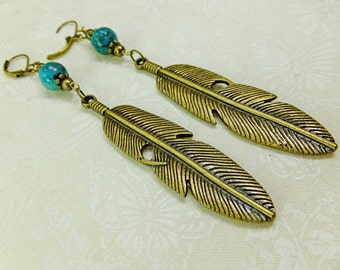 Real Turquoise Beads, Brass Beads, Accents and Large Feather Charms Dangle Earrings