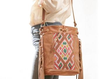 Boho Fringe Bag, Boho Crossbody, Kilim Bag, Moroccan Bag, Ready to Ship, Boho Chic Bag, Leather Fringe Bag, Leather Crossbody, Bucket Bag