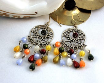 Belly Dance Earrings Colorful Gypsy Boho Earrings