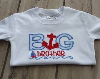 Big Brother Personalized Shirt - Nautical Big Brother Shirt ~ Embroidered Anchor Big Brother Announcement Shirt ~ Coming Home Shirt