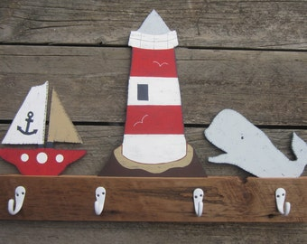 NAUTICAL Reclaimed Barn Wood Kids Towel Rack - Original Hand Painted Hand Crafted