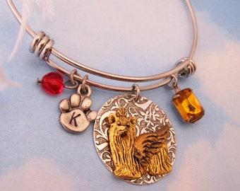 Yorkshire Terrier Yorkie Angel Bracelet Memorial Yorkie Jewelry Gifts. FREE Engraving. Personalized Bracelet Initial & Birthstone