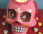 SUGAR SKULL Day of the Dead CANDLE Holder Altar Shrine Dia de los Muertos