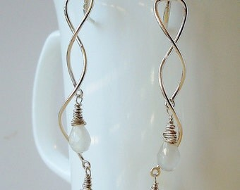 sterling silver-filled spiral labradorite and moonstone dangle earrings
