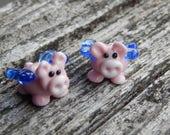Flying Pigs ,  Lampwork Bead Pair, Simply Lampwork by Nancy Gant, SRA G55