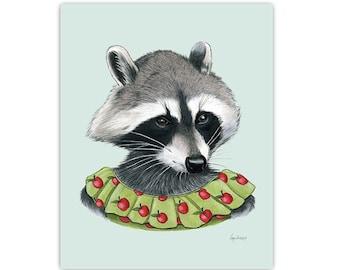 Raccoon Lady art print 8x10