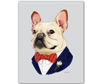 French Bulldog - Dog animal print - modern kid art - dog art - modern nursery - animals in clothes - animal artwork - Ryan Berkley 5x7