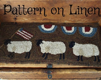 Hooked Rug Pattern on Linen Sheep on Parade