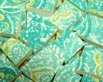 China Mosaic Tiles  Aqua Paisley  100 China Mosaic Tiles