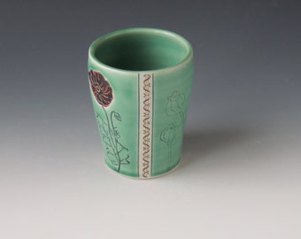 Ceramic Poppy Tumbler - green porcelain clay cup with  flowers, seedpods, and money decals - wheel thrown handmade pottery