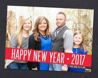 Simple, bold New Years card, Happy New Year 2017 card with photo, custom personalized card, printable card or printed cards