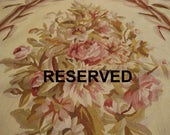 RESERVED - Vintage Needlepoint Rug 8x10 French Aubusson Style Flat Weave 100% Wool Rug AS-IS Can also be Nice Cutter for Projects