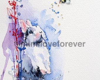 Watercolour rabbit painting. Original Unique artwork. Hand embroidery..