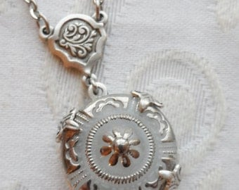 Vintage Glass Button Necklace, White Floral Design with Silver Highlights, Designs by Timeless Trinkets