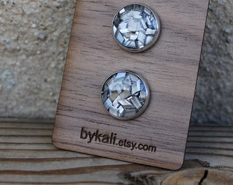 aluminum chips stud earrings