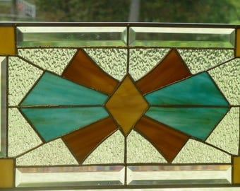 ART DECO Stained Glass & Beveled Window PANEL-Handmade by me