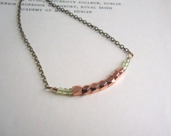 Copper and Peridot row necklace - delicate beads - green gemstones - modern wedding jewellery