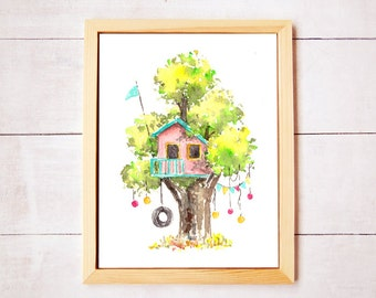 Treehouse Series 8 Watercolor Art Print - Digital Download