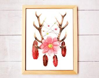 Dreamcatcher Antlers Botanical Watercolor Art - Digital Download
