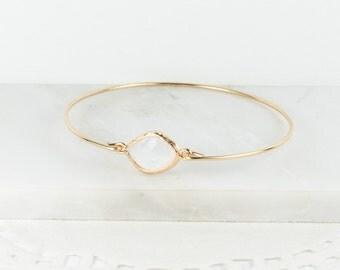 White Opal Gold Bangle, White Opal Gold Bracelet, October Birthstone Gold Bracelet, Bridesmaid Jewelry, October Birthday Gift