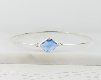 September Birthstone Sterling Silver Bangle, Sapphire Silver Bangle, September Birthday, Sterling Silver Bracelet, Sapphire Bangle Bracelet