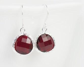 Garnet Silver Earrings, January Birthstone Silver Earrings, January Garnet  Earrings, Birthstone Jewelry, Bridesmaid Earrings