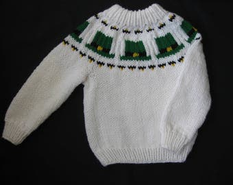 Hand Knit White Ski/Yoke Sweater with Green Leprechaun Hats for Child