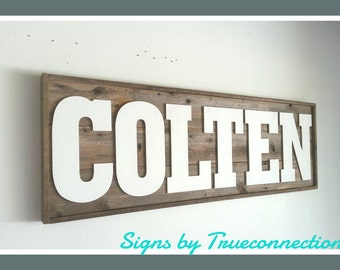 Name Sign Framed Custom Kids room Last name Wall Art Personalized Baby room Recycled Wood Large Letters 52x18x2 Huge Wall Hanging Rustic