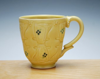Teacups & Saucers stamped mug in Buttercup yellow, Victorian modern