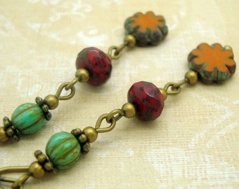 Bohemian Earrings in Turquoise and Deep Red with Mustard Yellow Glass Flower Beads