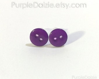Purple Buttons Post Earrings Kawaii Stud Earrings Button Rich Color No Metal Acrylic Plastic Posts Hypoallergenic Sensitive Ears Nickel Free