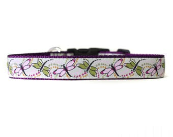 1 Inch Wide Dog Collar with Adjustable Buckle or Martingale in Dragonfly