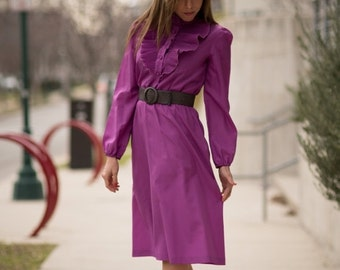 ON SALE Vintage Grape Ruffled Yoke Dress (Size Small)