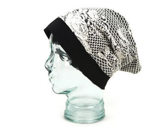 Floral Black and Cream Slouchy Beanie Hat