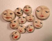 clay face lot pendant goddess  jewelry craft supplies mask handmade spirit  woman blue tribal mask  polymer  findings   doll parts head mask