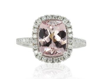 Morganite Engagement Ring, Platinum Engagement Ring, Diamond Halo Engagement Ring, 3 carat Engagement Ring, Cushion Cut Morganite - LS3004