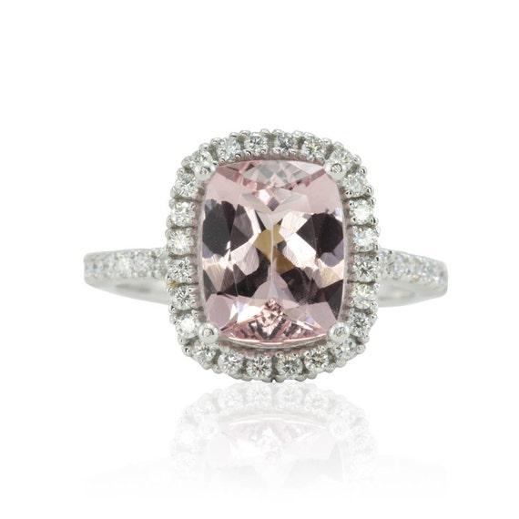 Morganite Engagement Ring Platinum Engagement Ring Diamond